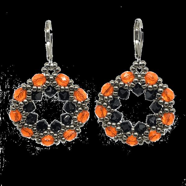 Orange and Black Crystal Earrings