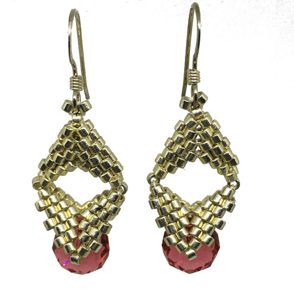 Silver And Pink Briolette Bauble Earrings