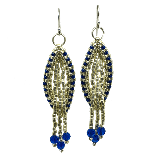 Blue and Silver Oval Chandelier Earrings