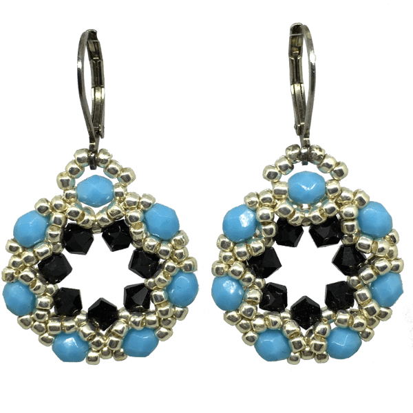 Turquoise and Black Crystal Earrings