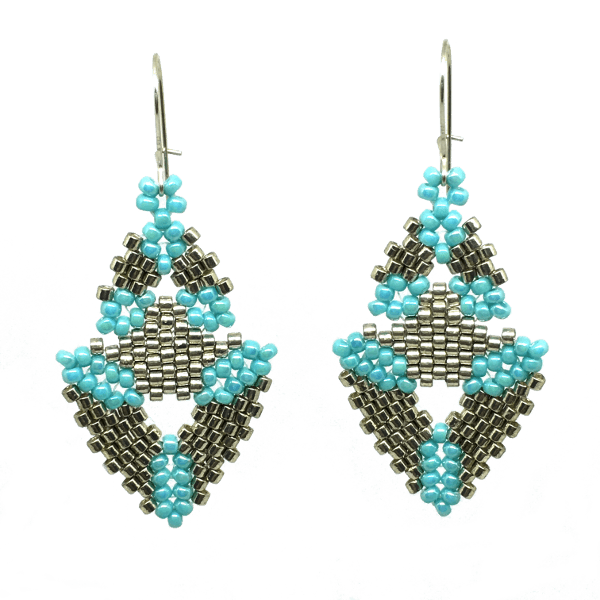 Silver and Turquoise Double Triangle Earrings